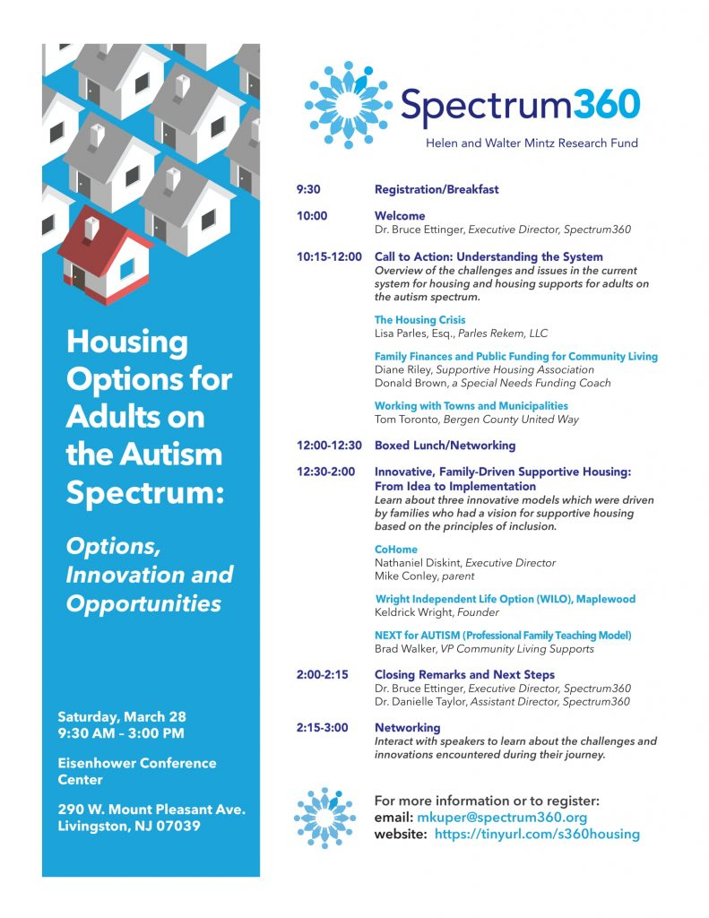Housing Options for Adults on the Autism Spectrum: Options, Innovation and Opportunities @ Eisenhower Conference Center